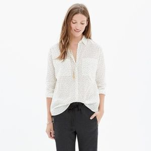 Madewell Semi Sheer White Trapeze Star Shirt S